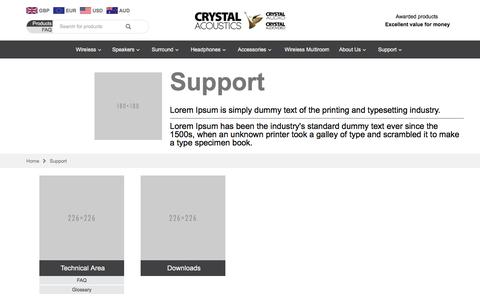 Screenshot of Support Page crystalaudio.com - Support - captured July 16, 2016