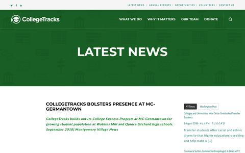 Screenshot of Press Page collegetracksusa.org - Latest News – CollegeTracks - captured Sept. 28, 2018