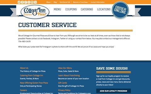 Screenshot of Support Page cottageinn.com - Customer Service - Cottage Inn Pizza - captured Sept. 19, 2014