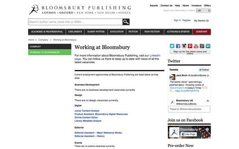 Screenshot of Jobs Page bloomsbury.com - Bloomsbury - Working at Bloomsbury - captured Feb. 17, 2018