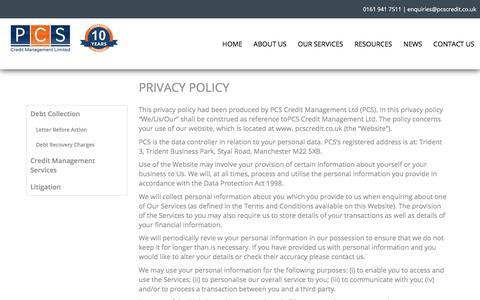 Screenshot of Privacy Page pcscredit.co.uk - Privacy Policy - PCS Credit Management LtdPCS Credit Management Ltd - captured Sept. 25, 2018