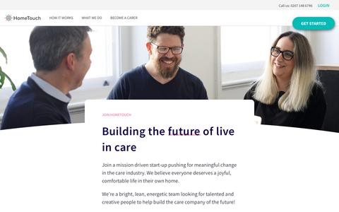 Screenshot of Jobs Page myhometouch.com - Revolutionise live in care | Careers at HomeTouch - captured April 20, 2018
