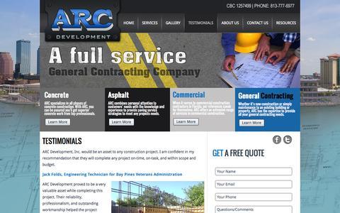 Screenshot of Testimonials Page arc-fl.com - New Page - captured Nov. 2, 2014