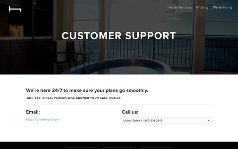 Screenshot of Support Page hoteltonight.com - Customer Support | HotelTonight | Book your Tonight, now up to 7 days in advance. - captured Nov. 3, 2015