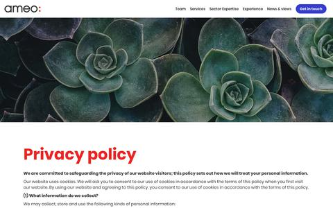 Screenshot of Privacy Page ameogroup.com - Ameo: We deliver change   Privacy policy - captured Oct. 3, 2018
