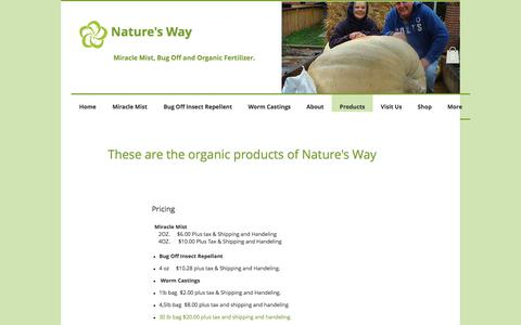 Screenshot of Products Page mothernaturesmist.com - Nature's Way | All Organic chemical free products - captured July 8, 2018