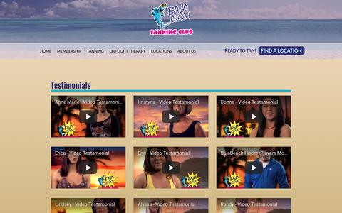 Screenshot of Testimonials Page bajabeachtanning.com - Testimonials | Baja Beach Tanning Club - captured Oct. 9, 2017
