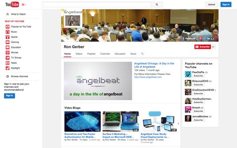 Screenshot of YouTube Page youtube.com - Ron Gerber  - YouTube - captured Oct. 29, 2014