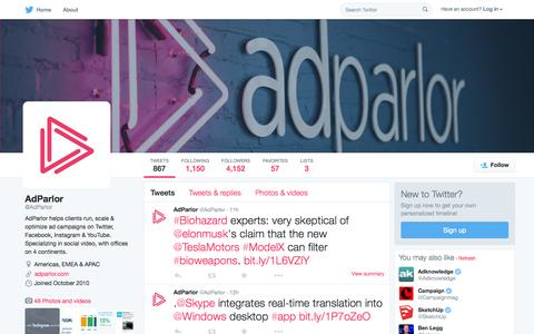 Screenshot of Twitter Page twitter.com - AdParlor (@AdParlor) | Twitter - captured Oct. 2, 2015