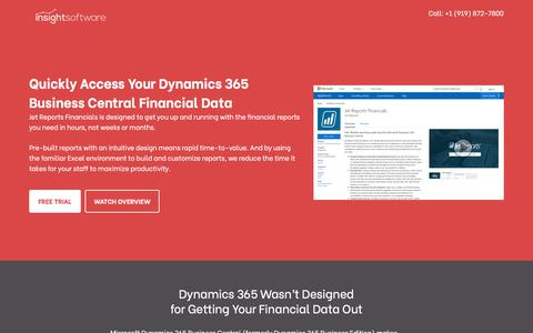 Screenshot of Trial Page insightsoftware.com - Jet for Dynamics 365 Business Central Demo and Pricing - insightsoftware - captured Oct. 9, 2019