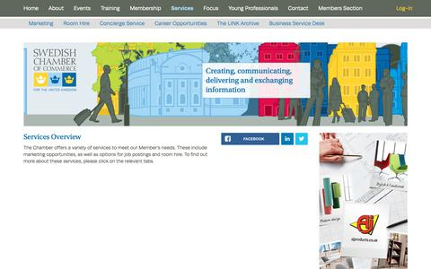Screenshot of Services Page scc.org.uk - Swedish Chamber of Commerce | Services - captured Oct. 18, 2018