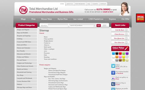 Screenshot of Site Map Page totalmerchandise.co.uk - TM Site map - Promotional Merchandise and Business Gifts - captured Sept. 18, 2014