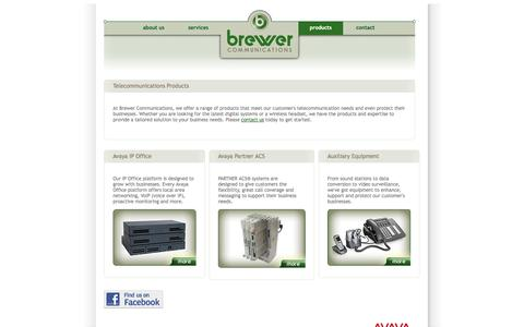 Screenshot of Products Page brecom.com - Telecommunication Products - Brewer Communications, Inc. - captured Oct. 5, 2014
