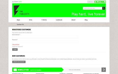 Screenshot of Login Page thefableists.com - Customer Login Play hard, live forever - captured Sept. 21, 2018