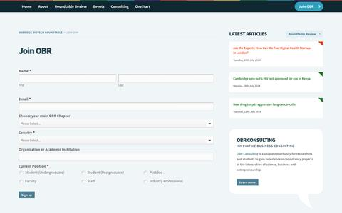 Screenshot of Signup Page oxbridgebiotech.com - Join OBR » Oxbridge Biotech Roundtable - captured Oct. 9, 2014