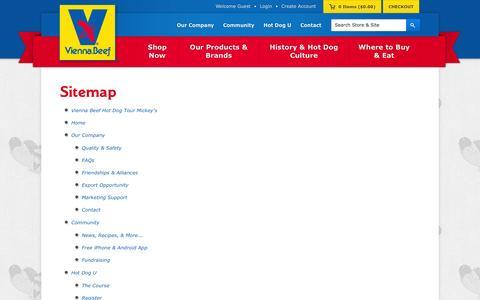 Screenshot of Site Map Page viennabeef.com - Sitemap | Vienna Beef - captured Sept. 19, 2014