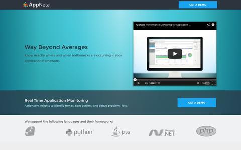 Screenshot of Landing Page appneta.com - Free Full Stack App Performance Demo | AppNeta Free Demo - captured Oct. 27, 2014