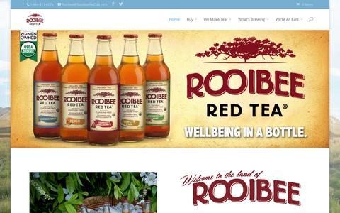 Screenshot of Home Page rooibeeredtea.com - Home - Rooibee Red Tea - captured Sept. 22, 2014