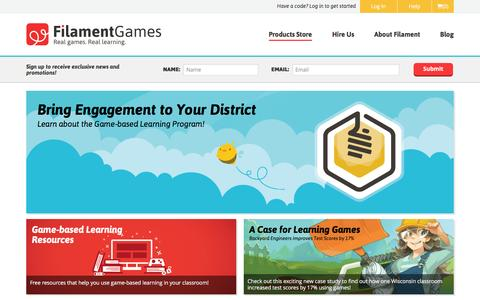 Screenshot of Products Page filamentgames.com - Game-based science curriculum units for educators and students. - captured Jan. 8, 2016