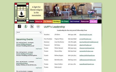 Screenshot of Team Page uufranklin.org - UUFF's Leadership | Unitarian Universalist Fellowship of Franklin, NC - captured June 20, 2016
