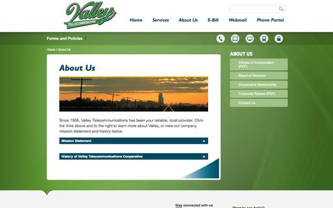 Screenshot of About Page valleytel.net - About Us - ValleyTel - captured Oct. 7, 2014