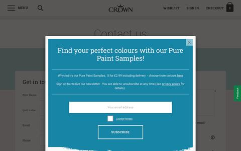 Screenshot of Contact Page crownpaints.co.uk - Contact us   Crown Paints - captured Dec. 7, 2019