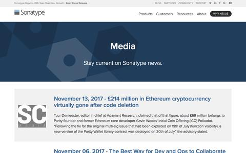 Screenshot of Press Page sonatype.com - Media | Sonatype - captured Nov. 14, 2017