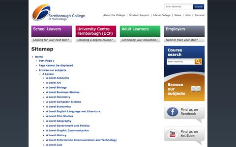 Screenshot of Site Map Page farn-ct.ac.uk - Farnborough College of Technology - Sitemap - captured Sept. 23, 2014