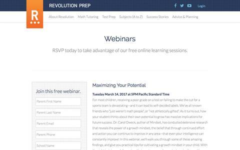 Webinars - Revolution Prep