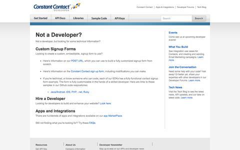 Screenshot of Developers Page constantcontact.com - Not a Developer? | Constant Contact Developer - captured Dec. 5, 2017