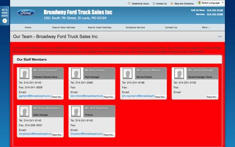 Screenshot of Team Page broadwaytruck.net - Our Team at Broadway Ford Truck Sales Inc - Your St Louis, Missouri Ford dealer - captured Feb. 8, 2016