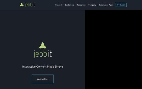 Screenshot of Home Page jebbit.com - Interactive Content for Marketers | Jebbit - captured May 12, 2016