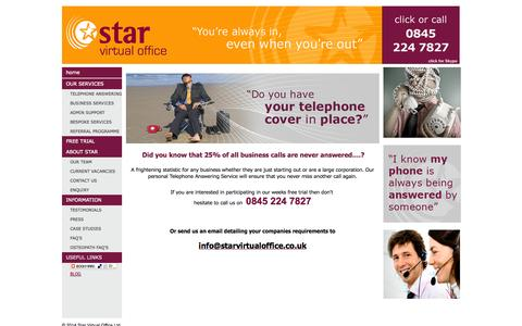 Screenshot of Trial Page starvirtualoffice.co.uk - Free 7 Day Trial - captured Sept. 30, 2014