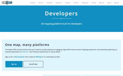 Screenshot of Developers Page eegeo.com - eeGeo | Developers | - captured May 9, 2017