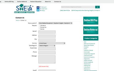 Screenshot of Contact Page shanmedical.com - Contact Us Shan Medical Equipment & Supplies - captured Oct. 4, 2017