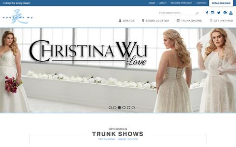 Screenshot of Home Page houseofwu.com - House of Wu | Wedding Dress Fashion Designer for Bridal and Prom - captured July 21, 2018