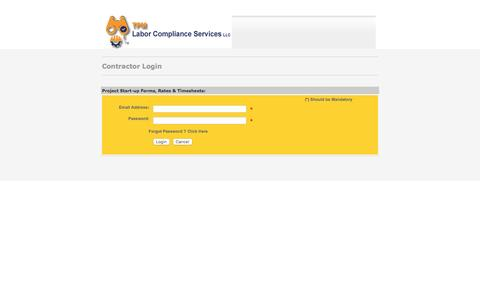 Screenshot of Login Page tpmcsi.com - Prevailing Wage Specialists, Davis Bacon Compliance Training, Contact Us - captured Feb. 22, 2016