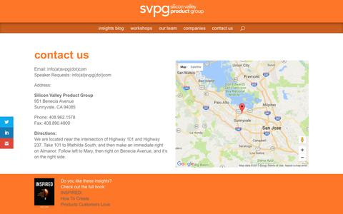 Screenshot of Contact Page svpg.com - contact us | Silicon Valley Product Group - captured April 3, 2017
