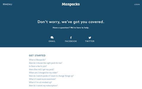 Screenshot of Contact Page manpacks.com - Contact – Manpacks - captured April 26, 2016