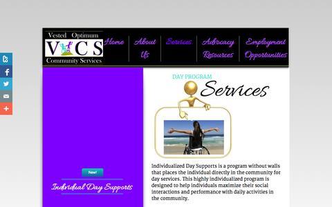 Screenshot of Services Page vestedoptimum.com - Services - captured Oct. 26, 2014