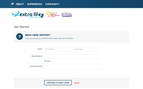 Screenshot of Signup Page extra-life.org - Extra Life | Play Games. Heal Kids. - captured Oct. 19, 2018