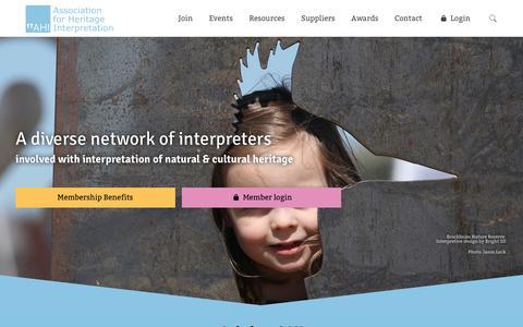 Screenshot of Home Page ahi.org.uk - AHI - Association for Heritage Interpretation - a diverse network - captured Oct. 4, 2018