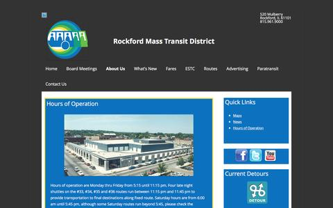 Screenshot of Hours Page rmtd.org - Hours of Operation   Rockford Mass Transit District - captured April 17, 2016