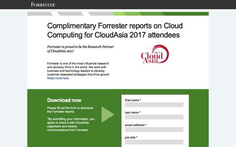Screenshot of Landing Page forrester.com - Complimentary Forrester reports on Cloud Computing for CloudAsia 2017 attendees - captured April 21, 2017