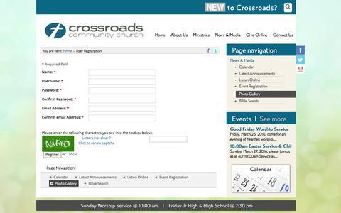 Screenshot of Signup Page crossroadsmv.com - User Registration - Crossroads Community Church, Mission Viejo CA - captured March 11, 2016