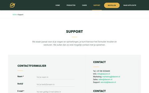 Screenshot of Contact Page Support Page dacom.nl - Vragen of Suggesties? Neem contact met ons op via support - captured Oct. 7, 2018