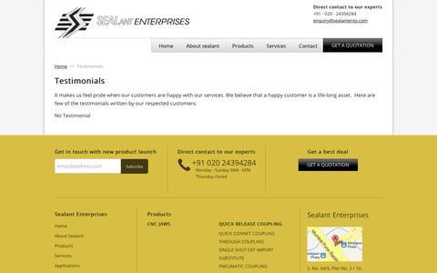 Screenshot of Testimonials Page sealantentp.com - Testimonials | Sealant Enterprises - captured Oct. 6, 2017