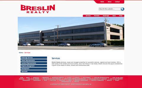 Screenshot of Services Page breslinrealty.com - Services - captured Sept. 30, 2014