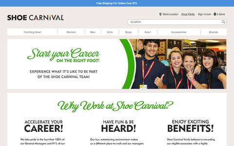 Screenshot of Jobs Page shoecarnival.com - Careers - captured Oct. 22, 2015