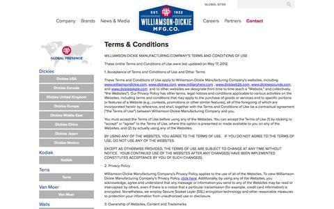 Screenshot of Terms Page williamson-dickie.com - Terms & Conditions | Williamson Dickie - captured Oct. 9, 2014